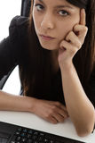 Business woman sitting at her desk Royalty Free Stock Images
