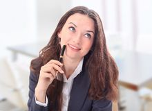 Business woman sitting in the office Royalty Free Stock Images
