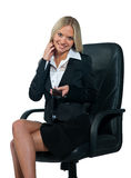 Business woman sitting in office chair Stock Image