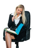 Business woman sitting in office chair Stock Photography
