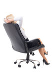 Business woman sitting on office chair isolated on white Stock Photography