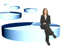 Business woman sitting on pie chart Royalty Free Stock Photos