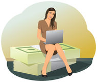 Business woman sitting on stacks of money Royalty Free Stock Image