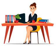 Business woman sitting at the table. Cute cartoon character businesswoman. Royalty Free Stock Photography