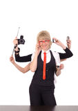 Business woman with six arms Royalty Free Stock Images