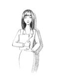 Business woman sketch. Business lady in office pencil drawing Royalty Free Stock Images