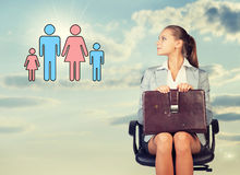 Business woman in skirt, blouse and jacket stock photography