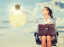 Business woman in skirt, blouse and jacket Stock Photo