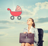 Business woman in skirt, blouse and jacket royalty free stock photo