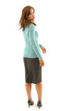 Business woman in skirt and sweater Stock Photos