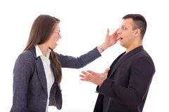 Business woman slapping man's face Royalty Free Stock Photo