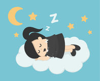 Business woman sleep on a cloud Stock Photo