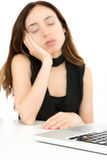 Business woman sleeping in front of her computer royalty free stock photos