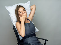 Business woman sleeping in office chair Stock Images
