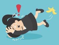 Business Woman slip on banana peel and falling Stock Photos