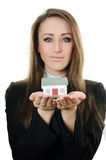 The business woman with small model of the house Stock Photography