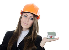 The business woman with small model of the house Stock Image