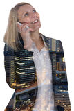 Business woman smartphone mobile phone businesswoman telephone d. Business woman smartphone smart mobile phone calling businesswoman telephone double exposure Royalty Free Stock Images