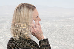 Business woman smartphone mobile phone calling businesswoman tel. Business woman smartphone smart mobile phone calling businesswoman telephone double exposure Royalty Free Stock Images