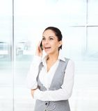 Business woman smile cell phone call Stock Photos