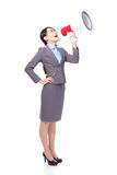 Business woman smile with megaphone Stock Images