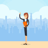 Business Woman Smile Point Finger Up. Businesswoman over City Skyscraper Silhouette Flat Illustration Royalty Free Stock Photography