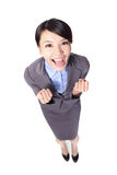 Business woman smile and raise her arms Stock Photography