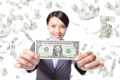 Business woman smile show money Stock Image