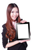 Business woman smile and showing tablet pc Royalty Free Stock Photos