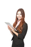 Business woman smile and showing tablet pc Stock Images
