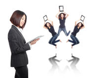 Business woman smile using tablet pc Stock Photos