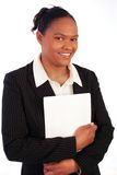 Business woman, smiling. With report stock photo