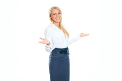 Business woman smiling. Isolated over a white background Royalty Free Stock Photos