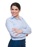 Business woman, smiling,  with arms crossed isolated. Royalty Free Stock Photo