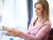 Business woman smiling stock photos