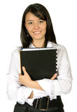Business woman smiling - folder Stock Images