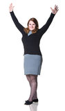 Business woman smiling with hands up Royalty Free Stock Images