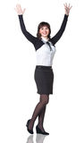 Business woman smiling with hands up Royalty Free Stock Photo