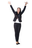 Business woman smiling with hands up Stock Image