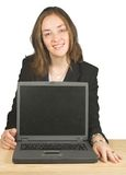 Business woman smiling with laptop Stock Photos