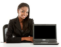 Business Woman Smiling with laptop Stock Image