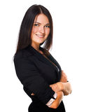 Business woman smiling over white background Royalty Free Stock Image