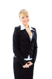 Business woman smiling over white background Stock Photography