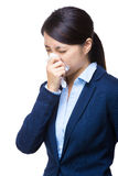 Business woman sneeze Royalty Free Stock Images