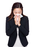 Business woman sneeze Stock Photo