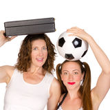Business woman and soccer player Royalty Free Stock Photo