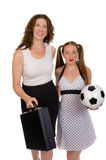 Business woman and soccer player Royalty Free Stock Photography