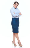 Business woman, solated over white. Royalty Free Stock Photo