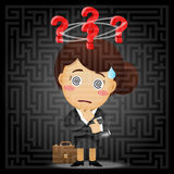 Business woman solving the solution of labyrinth. Confused business woman with question mark solving the solution of a complex maze Stock Photo