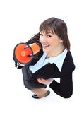 Business woman speak in megaphone. Top view of business woman speak in megaphone Royalty Free Stock Photography